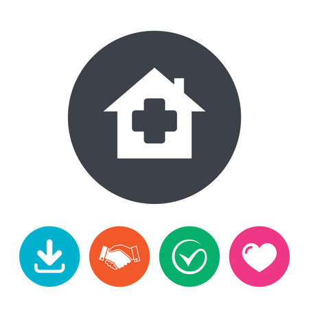 arrow home: Medical hospital sign icon. Home medicine symbol. Download arrow, handshake, tick and heart. Flat circle buttons.