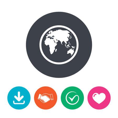 Globe sign icon world map geography symbol download arrow mapa del mundo smbolo de la geografa descargar flecha gumiabroncs Choice Image