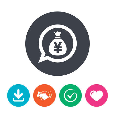 jpy: Money bag sign icon. Yen JPY currency speech bubble symbol. Download arrow, handshake, tick and heart. Flat circle buttons.