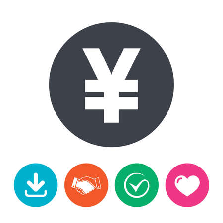 yen sign: Yen sign icon. JPY currency symbol. Money label. Download arrow, handshake, tick and heart. Flat circle buttons.