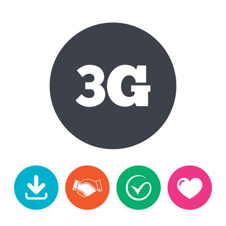 3g: 3G sign icon. Mobile telecommunications technology symbol. Download arrow, handshake, tick and heart. Flat circle buttons. Illustration
