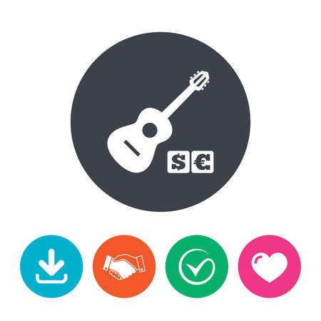 Acoustic guitar sign icon. Paid music symbol. Download arrow, handshake, tick and heart. Flat circle buttons. Illustration