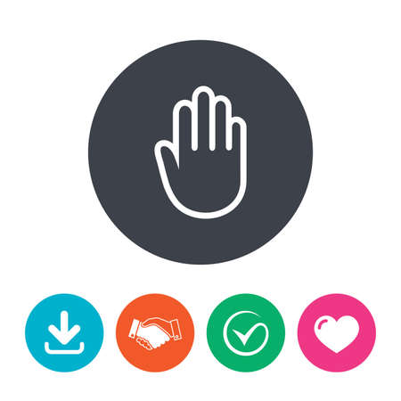give me five: Hand sign icon. No Entry or stop symbol. Give me five. Download arrow, handshake, tick and heart. Flat circle buttons.