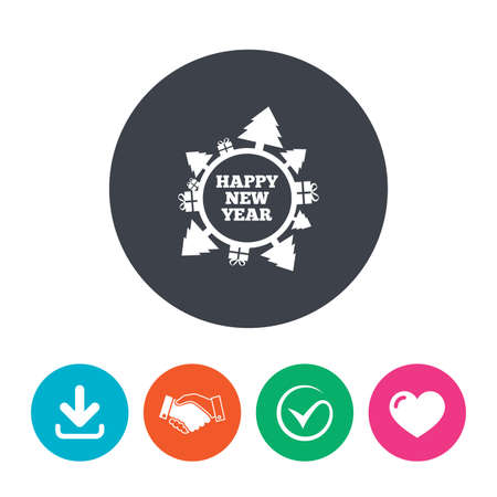 new arrow: Happy new year globe sign icon. Gifts and trees symbol. Full rotation 360. Download arrow, handshake, tick and heart. Flat circle buttons. Illustration