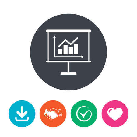 ppt: Presentation billboard sign icon. Scheme and Diagram symbol. Download arrow, handshake, tick and heart. Flat circle buttons. Illustration