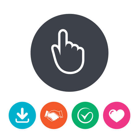 position d amour: Hand cursor sign icon. Hand pointer symbol. Download arrow, handshake, tick and heart. Flat circle buttons. Illustration
