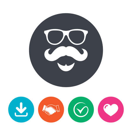 handshake icon: Mustache and Glasses sign icon. Hipster with beard symbol. Download arrow, handshake, tick and heart. Flat circle buttons. Illustration