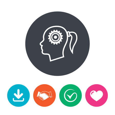 heart gear: Head with gear sign icon. Female woman human head think symbol. Download arrow, handshake, tick and heart. Flat circle buttons. Illustration