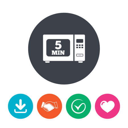 heart heat: Cook in microwave oven sign icon. Heat 5 minutes. Kitchen electric stove symbol. Download arrow, handshake, tick and heart. Flat circle buttons. Illustration
