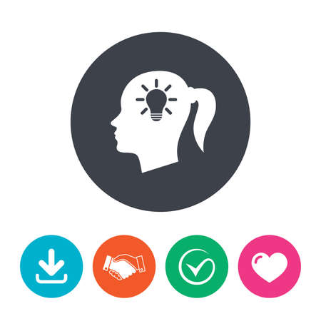 pigtail: Head with lamp bulb sign icon. Female woman human head idea with pigtail symbol. Download arrow, handshake, tick and heart. Flat circle buttons. Illustration