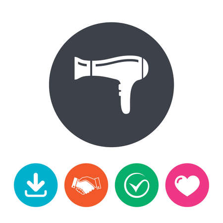 blow drying: Hairdryer sign icon. Hair drying symbol. Download arrow, handshake, tick and heart. Flat circle buttons. Illustration
