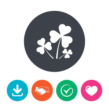 shamrock: Clovers with three leaves sign icon. Saint Patrick trefoil shamrock symbol. Download arrow, handshake, tick and heart. Flat circle buttons. Illustration