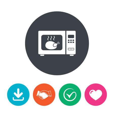 electric stove: Microwave oven sign icon. Roast chicken. Kitchen electric stove symbol. Download arrow, handshake, tick and heart. Flat circle buttons. Illustration