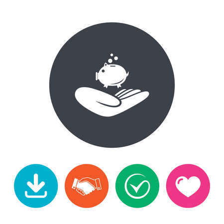 endowment: Donation hand sign icon. Hand holds Piggy bank. Charity or endowment symbol. Human helping hand palm. Download arrow, handshake, tick and heart. Flat circle buttons.