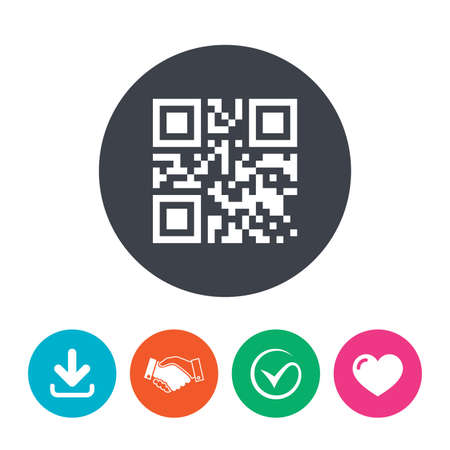coded: Qr code sign icon. Scan code symbol. Coded word - success! Download arrow, handshake, tick and heart. Flat circle buttons. Illustration