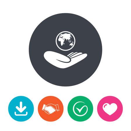 symbol: segno Assicurazione mondiale. La mano tiene simbolo del pianeta. Assicurazione di viaggio. Pace nel mondo. Scarica freccia, stretta di mano, segno di spunta e il cuore. pulsanti cerchio piatte.