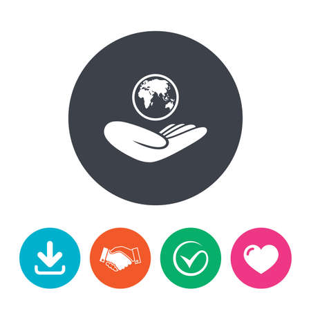 world peace: World insurance sign. Hand holds planet symbol. Travel insurance. World peace. Download arrow, handshake, tick and heart. Flat circle buttons. Illustration