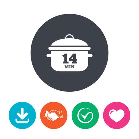 boil: Boil 14 minutes. Cooking pan sign icon. Stew food symbol. Download arrow, handshake, tick and heart. Flat circle buttons. Illustration