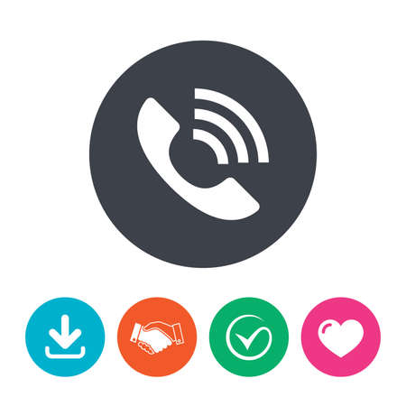 rang: Phone sign icon. Support symbol. Call center. Download arrow, handshake, tick and heart. Flat circle buttons. Illustration