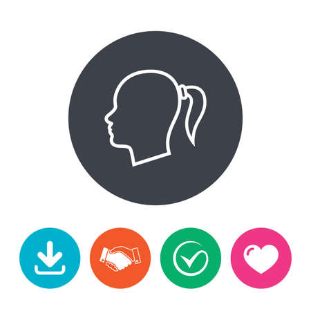 pigtail: Head sign icon. Female woman human head with pigtail symbol. Download arrow, handshake, tick and heart. Flat circle buttons.
