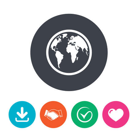 geography: Globe sign icon. World map geography symbol. Download arrow, handshake, tick and heart. Flat circle buttons.
