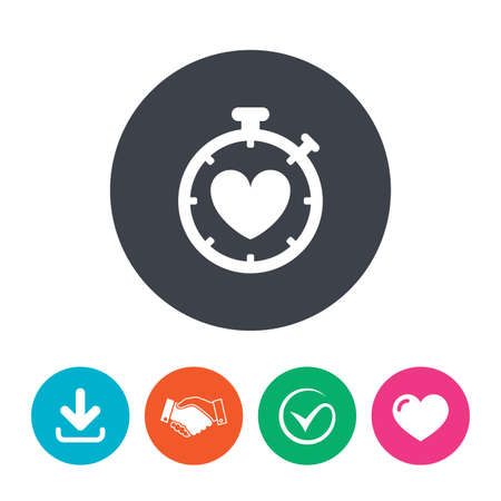 palpitation: Heart Timer sign icon. Stopwatch symbol. Heartbeat palpitation. Download arrow, handshake, tick and heart. Flat circle buttons.