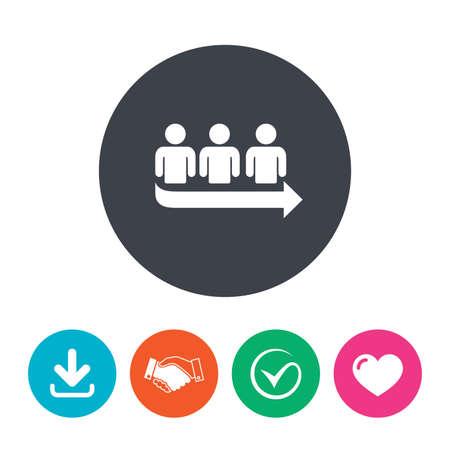fila de espera: Queue sign icon. Long turn symbol. Download arrow, handshake, tick and heart. Flat circle buttons.