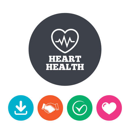 health check: Heartbeat sign icon. Heart health cardiogram check symbol. Download arrow, handshake, tick and heart. Flat circle buttons.