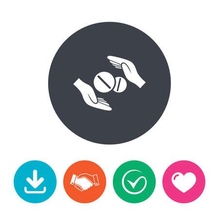 proteccion: Médico icono de la muestra de seguros. La mano sostiene la tableta las drogas. Seguro de salud. Descargar flecha, apretón de manos, la garrapata y el corazón. botones planos círculo. Vectores