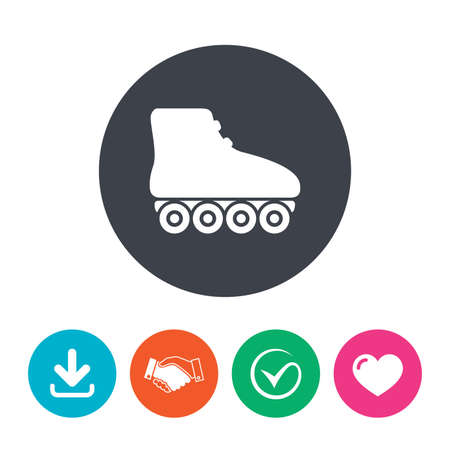 rollerblades: Roller skates sign icon. Rollerblades symbol. Download arrow, handshake, tick and heart. Flat circle buttons.