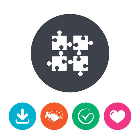 ingenuity: Puzzles pieces sign icon. Strategy symbol. Ingenuity test game. Download arrow, handshake, tick and heart. Flat circle buttons. Illustration
