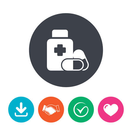 pills bottle: Medical pills bottle with cross sign icon. Pharmacy medicine drugs symbol. Download arrow, handshake, tick and heart. Flat circle buttons.