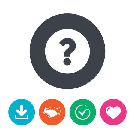 questions: Question mark sign icon. Help symbol. FAQ sign. Download arrow, handshake, tick and heart. Flat circle buttons.