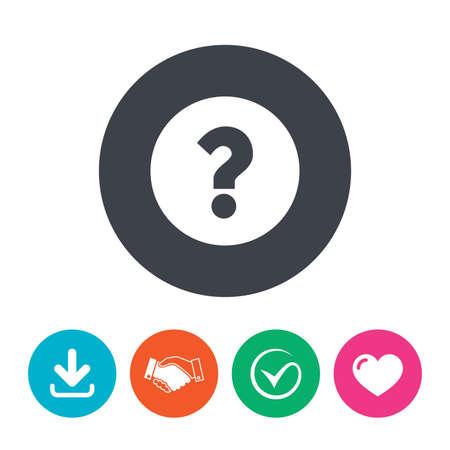 signo de interrogación: Signo de interrogación signo icono. Símbolo de Ayuda. Signo de preguntas frecuentes. Descargar flecha, apretón de manos, la garrapata y el corazón. Botones planos círculo.
