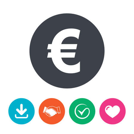 eur: Euro sign icon. EUR currency symbol. Money label. Download arrow, handshake, tick and heart. Flat circle buttons.