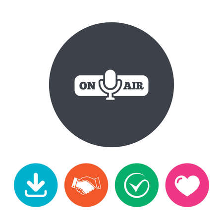 live stream radio: On air sign icon. Live stream symbol. Microphone symbol. Download arrow, handshake, tick and heart. Flat circle buttons.