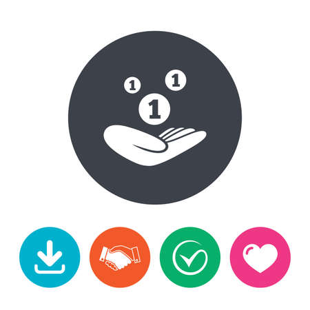 endowment: Donation hand sign icon. Hand holds coins. Charity or endowment symbol. Human helping hand palm. Download arrow, handshake, tick and heart. Flat circle buttons.