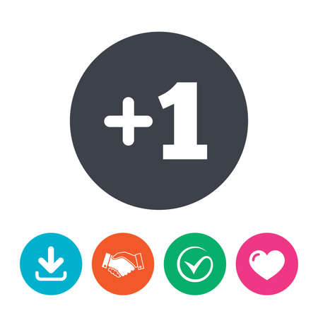 append: Plus one sign. Add one symbol. One more. Download arrow, handshake, tick and heart. Flat circle buttons. Illustration