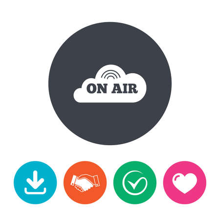 live stream sign: On air sign icon. Live stream symbol. Download arrow, handshake, tick and heart. Flat circle buttons.