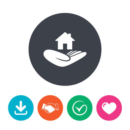 arrow home: House insurance sign. Hand holds home symbol. Insurance of property. Download arrow, handshake, tick and heart. Flat circle buttons. Illustration