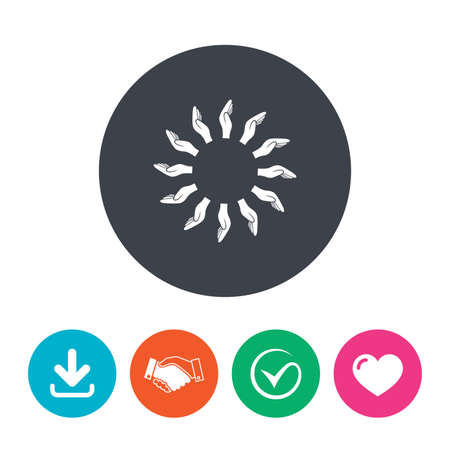 endowment: Donation hands circle sign icon. Charity or endowment symbol. Human helping hand palm. Download arrow, handshake, tick and heart. Flat circle buttons. Illustration