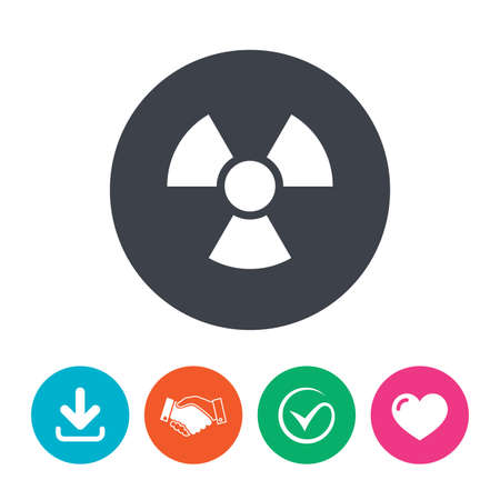 arrow poison: Radiation sign icon. Danger symbol. Download arrow, handshake, tick and heart. Flat circle buttons. Illustration