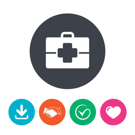 medical case: Medical case sign icon. Doctor symbol. Download arrow, handshake, tick and heart. Flat circle buttons. Illustration