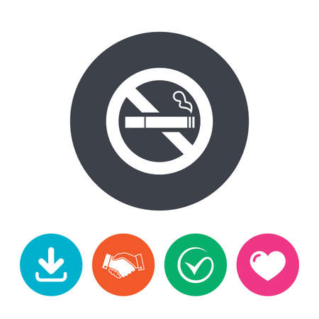 quit: No Smoking sign icon. Quit smoking. Cigarette symbol. Download arrow, handshake, tick and heart. Flat circle buttons.