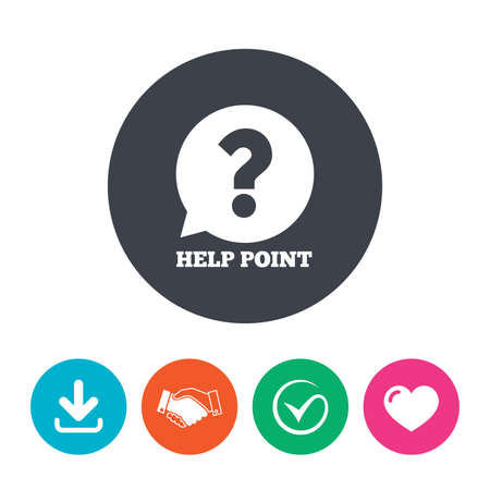 quality questions: Help point sign icon. Question symbol. Download arrow, handshake, tick and heart. Flat circle buttons.
