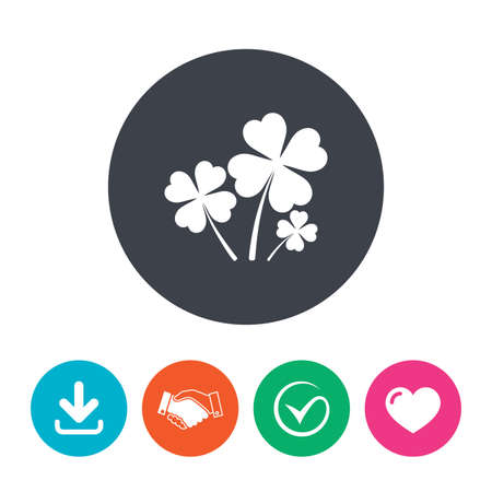 quatrefoil: Clovers with four leaves sign icon. Saint Patrick symbol. Download arrow, handshake, tick and heart. Flat circle buttons.