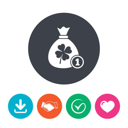 clover buttons: Money bag with Clover and coin sign icon. Saint Patrick symbol. Download arrow, handshake, tick and heart. Flat circle buttons. Illustration
