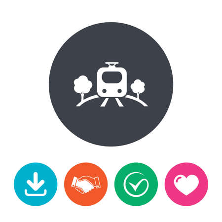 metro train: Overground subway sign icon. Metro train symbol. Download arrow, handshake, tick and heart. Flat circle buttons. Illustration