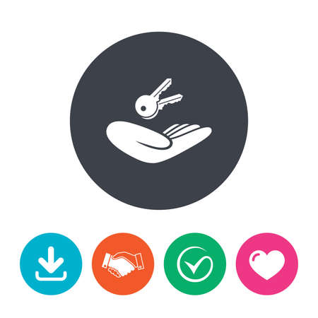 arrow home: House insurance sign. Hand holds home keys symbol. Insurance of property. Download arrow, handshake, tick and heart. Flat circle buttons. Illustration