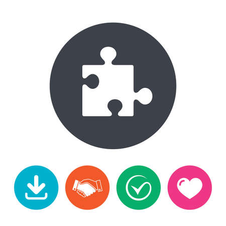 puzzle heart: Puzzle piece sign icon. Strategy symbol. Download arrow, handshake, tick and heart. Flat circle buttons.